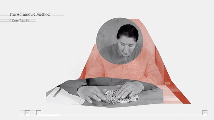 Still from the Abramovic Method by Marina Abramovic, designed by WeTransfer
