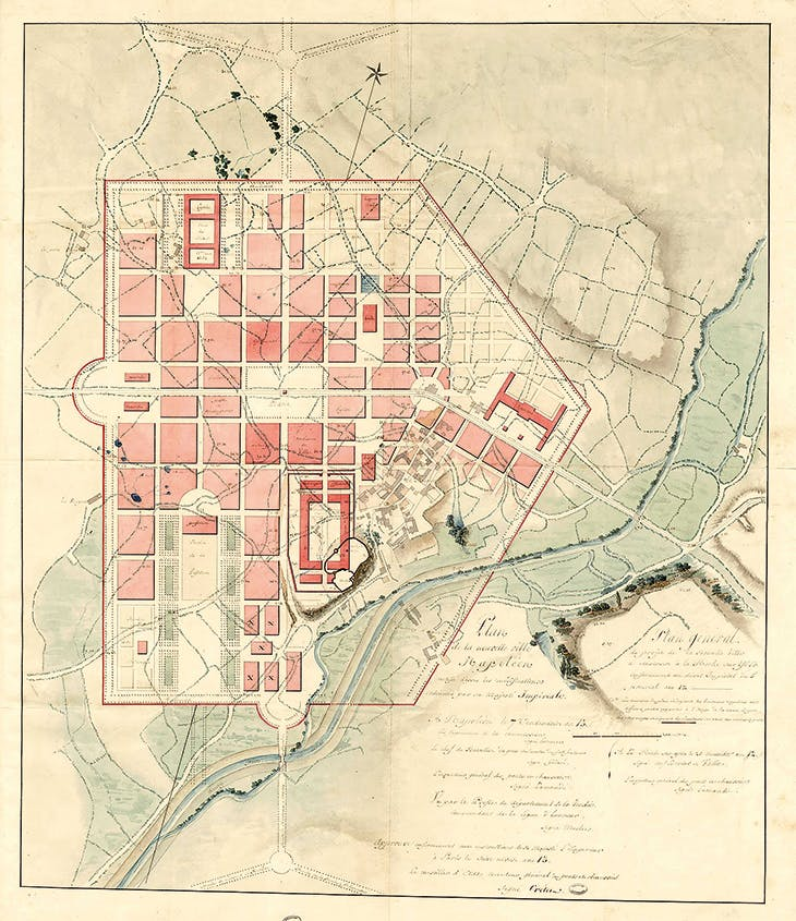 Plan for the creation of a new town, Napoléonville, to be built in La Roche-sur-Yon in the Vendée, as laid down by an imperial decree of May 1804 and revised in September that year.
