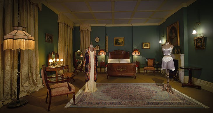 Installation view of Lady Mary's bedroom in 'Downton Abbey: The Exhibition' at the Biltmore Estate, North Carolina in 2020, produced by Imagine Exhibitions Inc.