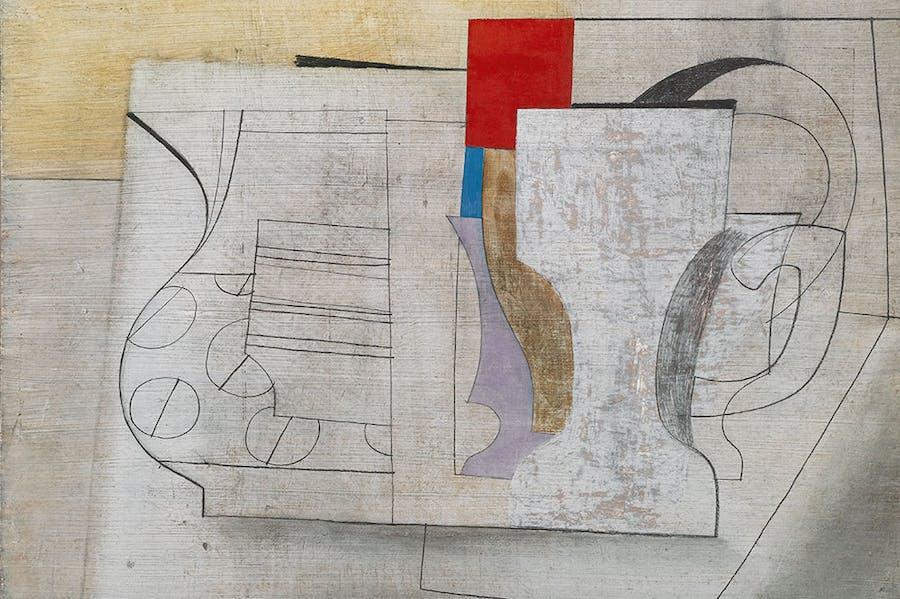 June 16-47 (still life) (detail; 1947), Ben Nicholson. Private collection.