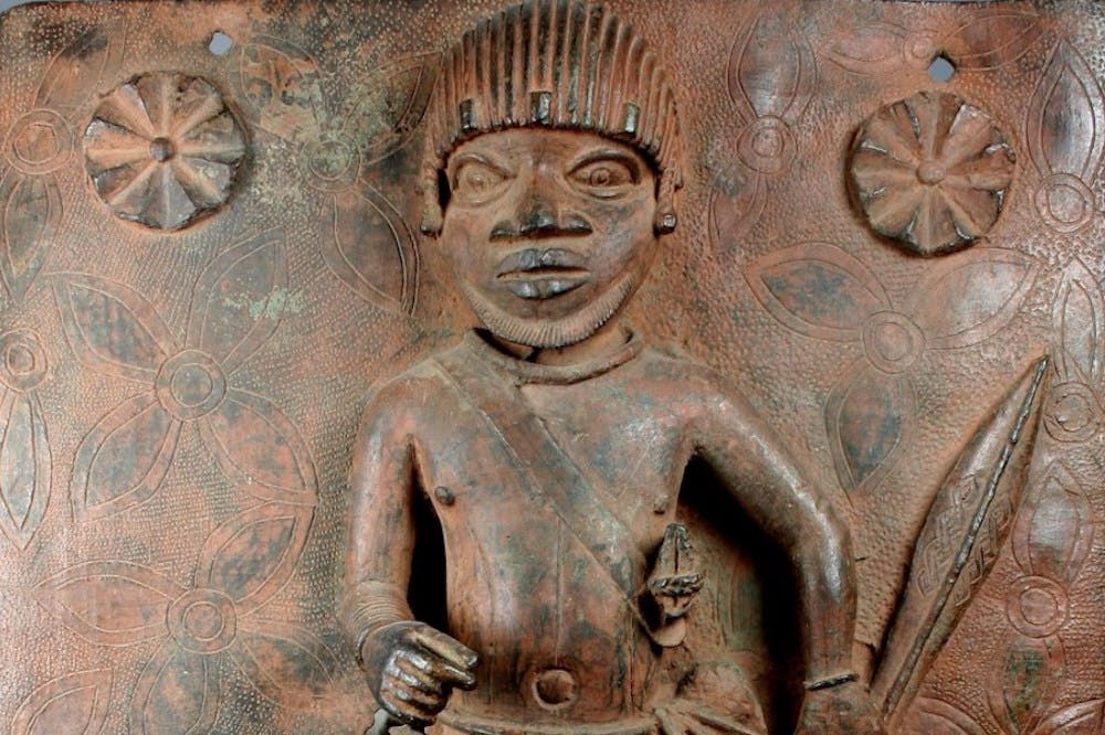Detail of a 17th-century plaque depicting a junior court official in the Kingdom of Benin – one of two to be returned to Nigeria by the Metropolitan Museum of Art, New York