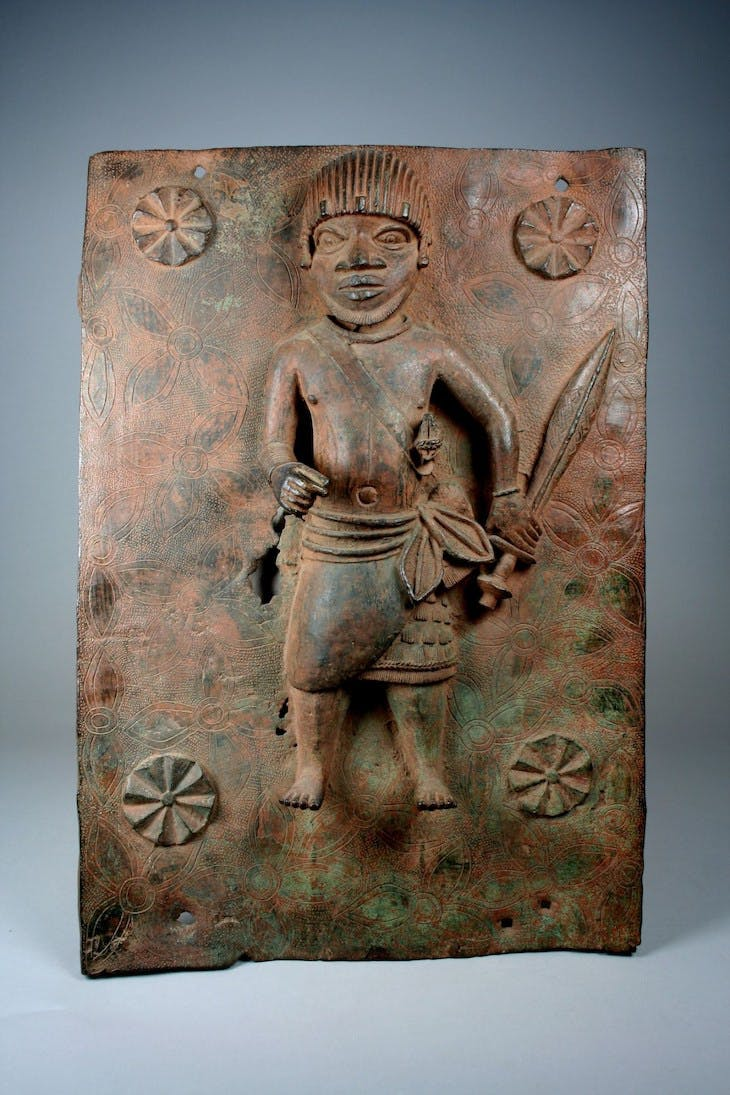 17th-century plaque depicting a junior court official in the Kingdom of Benin – one of two to be returned to Nigeria by the Metropolitan Museum of Art, New York