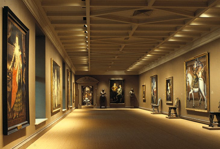 View of the Jacobean Long Gallery created for 'Treasure Houses of Britain: Five Hundred Years of Private Patronage and Collecting' at the National Gallery of Art, Washington, D.C. in 1985.
