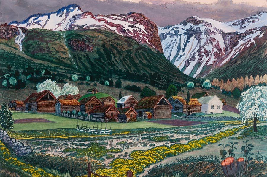 Marsh Marigold Night (before 1915; detail), Nikolai Astrup. Savings Bank Foundation DNB / KODE Art Museums and Composer Homes, Bergen