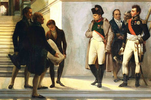 Napoleon visiting the stairs of the Louvre, guided by the architects Percier and Fontaine