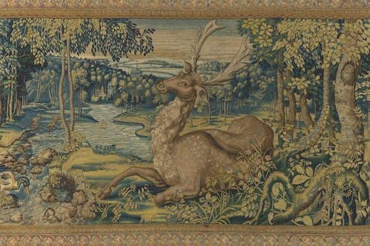 Held deer: a detail from a tapestry woven in Brussels in 1550–60. Wawel Royal Castle, Kraków.
