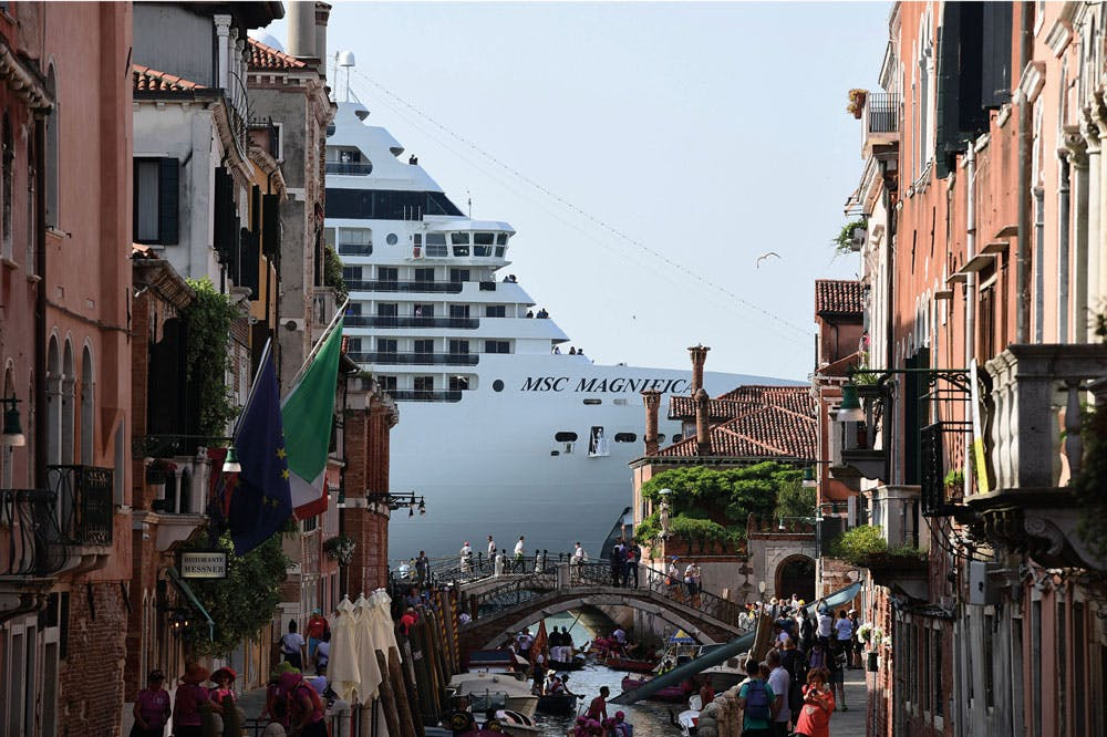 The MSC Magnifica seen from a canal in Venice in June 2019.