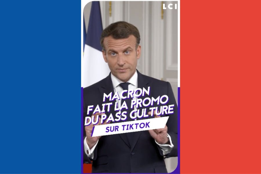 Social influencer: Emmanuel Macron announcing the launch of the culture pass for 18 year olds on TikTok.