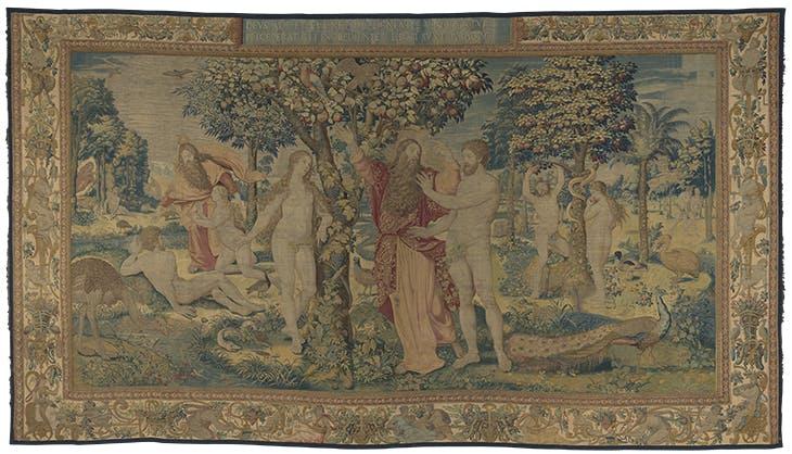Heavenly Bliss, from the series History of the First Parents (1550–60), designed by Michiel Coxcie the Elder, woven by workshop of Jan de Kempeneer. Wawel Royal Castle, Kraków.