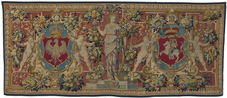 Tapestry with the coats of arms of Poland and Lithuania and a figure of Ceres (1550-1560), designed by an artist from the circle of Cornelis Floris and Cornelis Bos, woven by the workshop of Frans Ghieteels.  Wawel Royal Castle, Krakow.