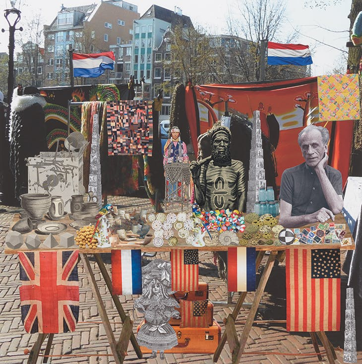 Joseph Cornell's Holiday – Holland, Amsterdam, Waterlooplein Market. 'Joseph dreams of a market stall with elements he uses in his work' (2018), Peter Blake.