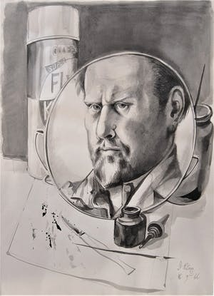 Self-portrait with Mirror (1966), Michael Ayrton. Private collection.