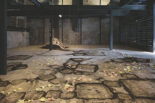 Installation view of 'Karla Black: sculptures 2001–2021', in the new warehouse space at Fruitmarket, Edinburgh. Photo: Tom Nolan
