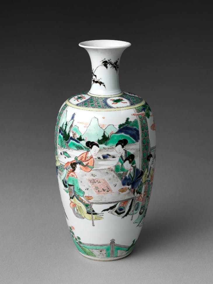 Vase with Women Enjoying Scholarly Pursuits (early 18th century). Metropolitan Museum of Art.