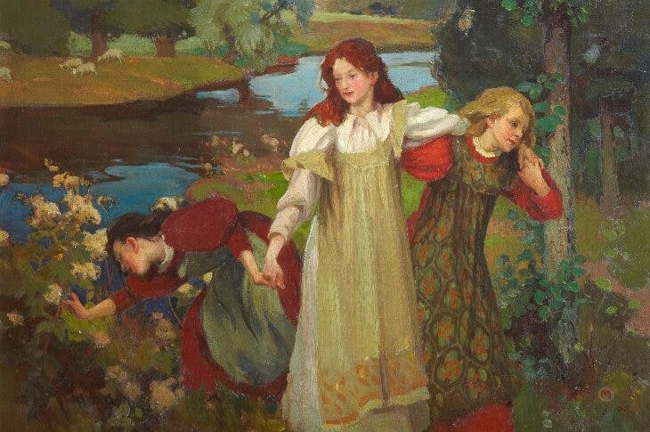 There were Three Maidens pu'd a Flower (c. 1897), Charles H. Mackie. City Art Centre, Museums & Galleries Edinburgh.