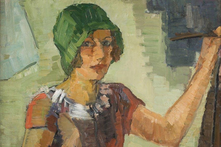 Woman painter at her easel (detail; n.d.), Hanna Bekker vom Rath.
