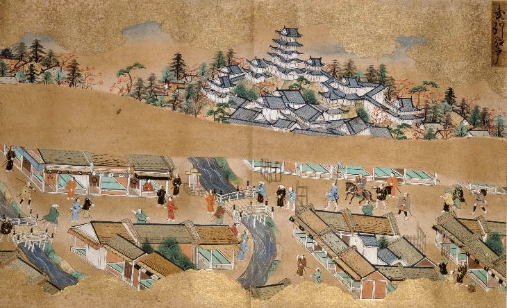 Edo Castle from the 'Record of Famous Sights of the Tokaido Road' (late-17th century), Tosa school.