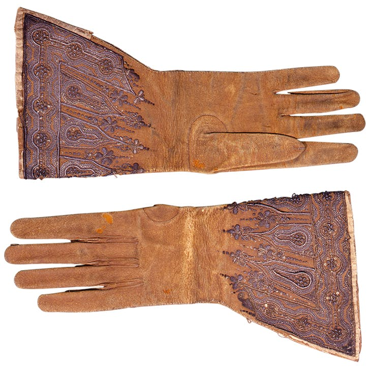 Gloves given by Charles I on the scaffold to Archbishop Juxon (17th century). Lambeth Palace Library, London