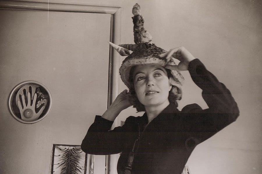 Photograph of Eileen Agar wearing her Ceremonial Hat for Eating Bouillabaisse