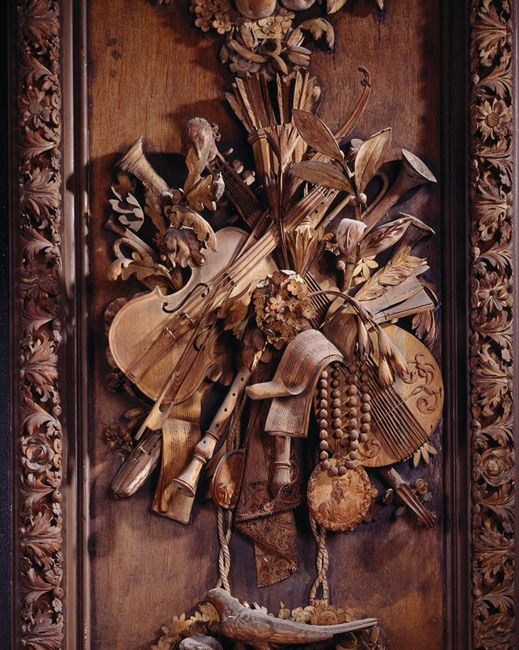 Limewood carving by Grinling Gibbons, in the Carved Room (c. 1692) at Petworth House, West Sussex