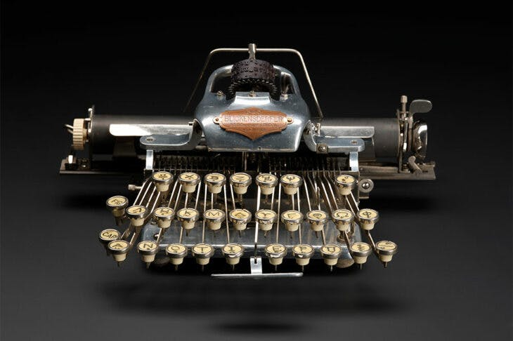 Blickensdorfer No. 5 typewriter (1910), made by Blickensdorfer Manufacturing Company, Stamford, CT and owned by Arthur Bettie, Professor of Greek at the University of Edinburgh.