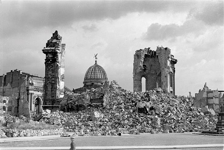 The ruins of the Frauenkirche, Dresden, with the dome