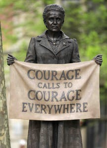 Statue of Millicent Fawcett by Gillian Wearing in Parliament Square, London, after its unveiling on April 24, 2018.