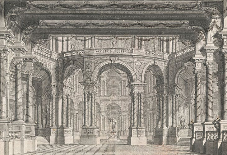 A Colonnaded Stage (c. 1750), Carlo Galli Bibiena. Promised gift of Jules Fisher to the Morgan Library & Museum, New York