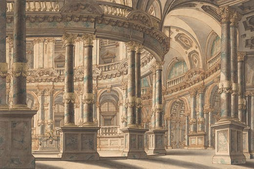 Circular Colonnaded Atrium (c. 1730), attributed to Giuseppe Galli Bibiena. Promised gift of Jules Fisher to the Morgan Library & Museum, New York