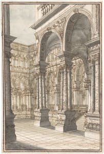 Courtyard of a Palace, a Design for the Stage (c. 1710–20), Giuseppe Galli Bibiena. Promised gift of Jules Fisher to the Morgan Library & Museum, New York