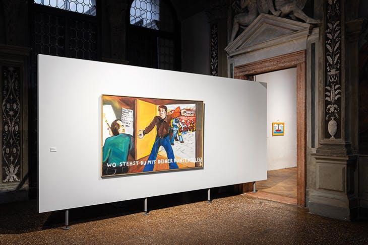 Installation view of Wo stehst du mit deiner Kunst, Kollege? (1973) by Jörg Immendorff in 'Stop Painting' at the Fondazione Prada in Venice.