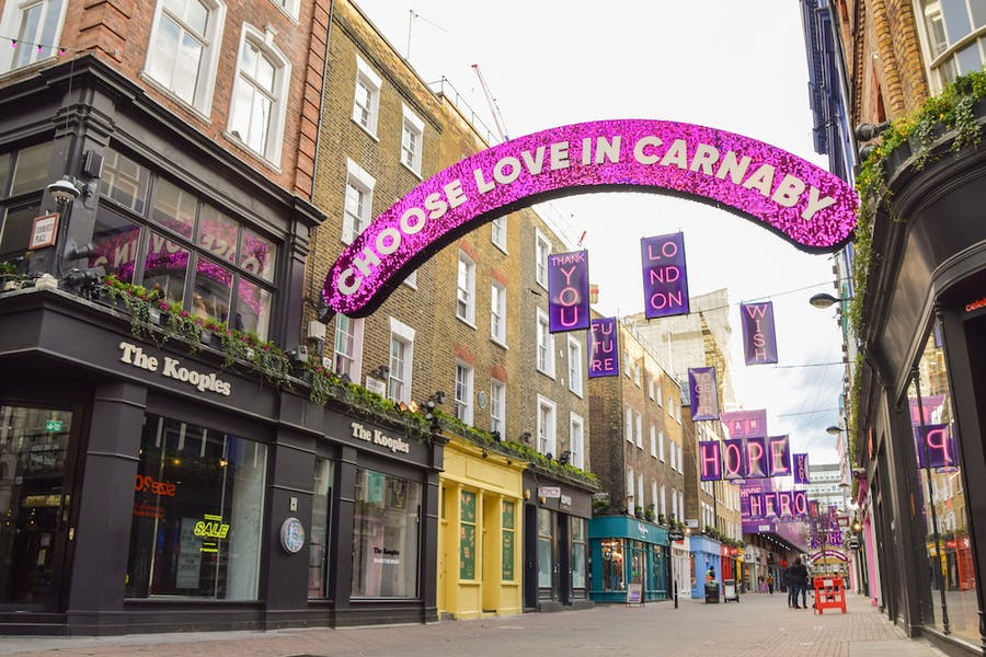 Private party? Carnaby Street in Soho, London, in late 2020.