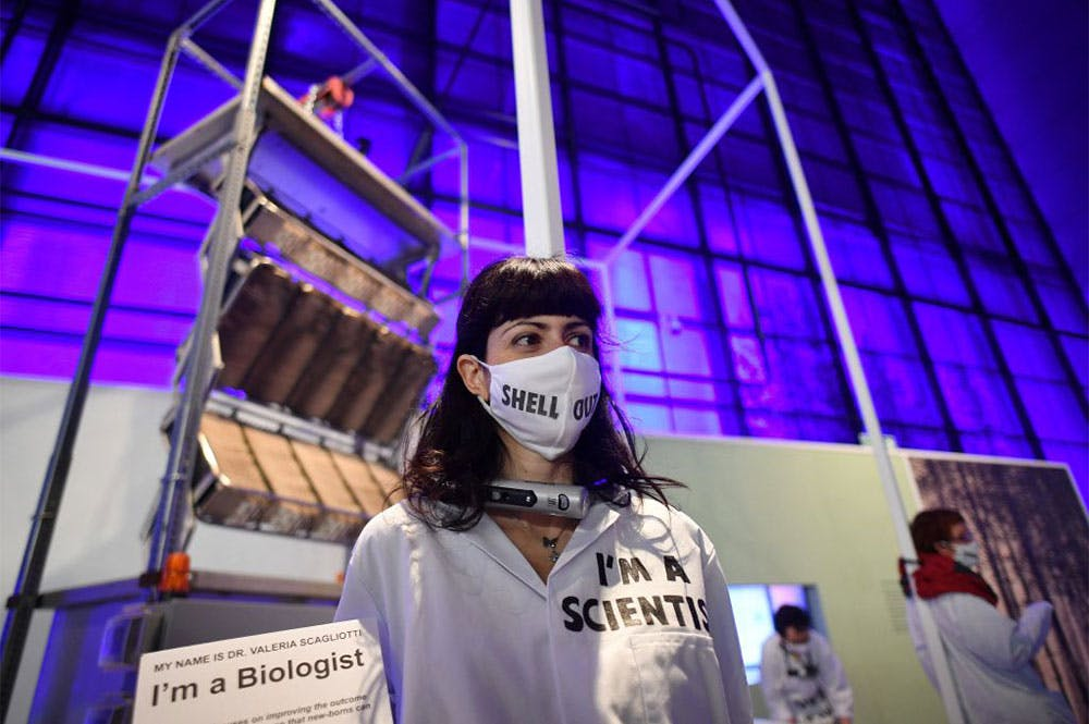 Activists from Extinction Rebellion chained to an exhibit at the Science Museum's 'Our Future Planet' exhibition, sponsored by Shell, in May 2021.