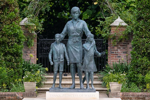 Wardrobe malfunction: statue of Princess Diana by Ian Rank-Broadley, unveiled in the Sunken Garden at Kensington Palace on 1 July 2021.