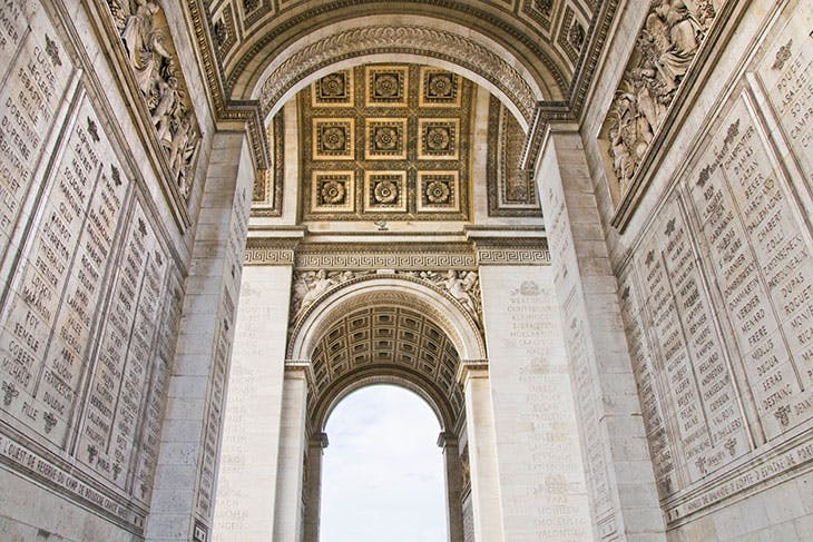 The Arc de Triomphe is inscribed with the names of French generals, mostly from the First Empire. The names of those who died in action are underlined.