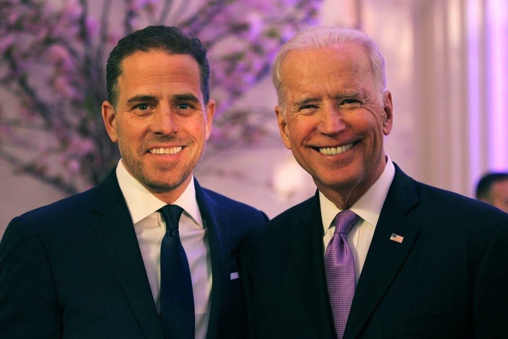 Hunter Biden and Joe Biden at an award ceremony in Washinton, D.C. in April 2016.