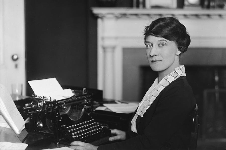 Woman working in an office in the United States, c. 1921.