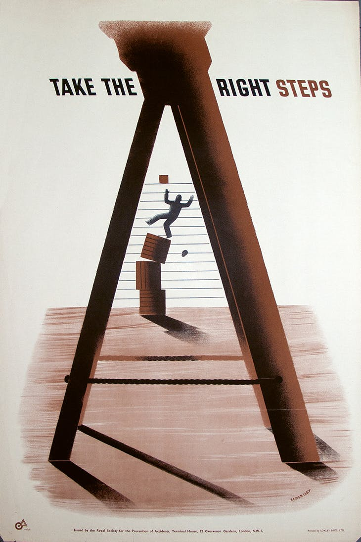 'Take the Right Steps' (1943), designed by Tom Eckersley for the Royal Society for the Prevention of Accidents (RoSPA).