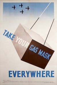 'Take Your Gas Mask Everywhere' (1939), designed by Tom Eckersley for RoSPA.