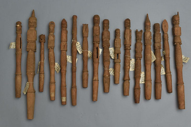 Selection of ukhurhe rattle staffs commissioned to be made by Northcote Thomas in Benin City, Nigeria, in 1909.