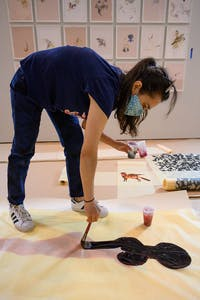 Shahzia Sikander at work on her show at the Morgan