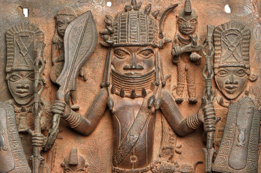 Detail of plaque (c. 16th–17th century), Benin City.