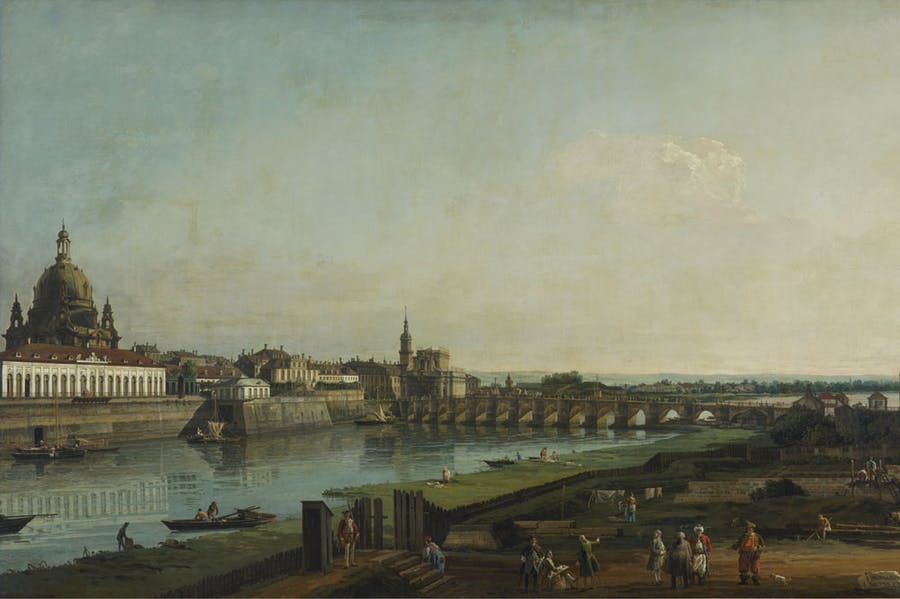 Dresden from the Right Bank of the Elbe Above the Augustus Bridge (detail; 1747), Bernardo Bellotto.