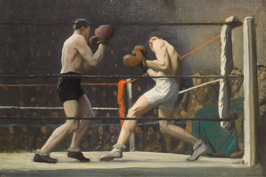 Boxing in Camp (The Light Heavy-Weights) (detail; 1918), Laura Knight.