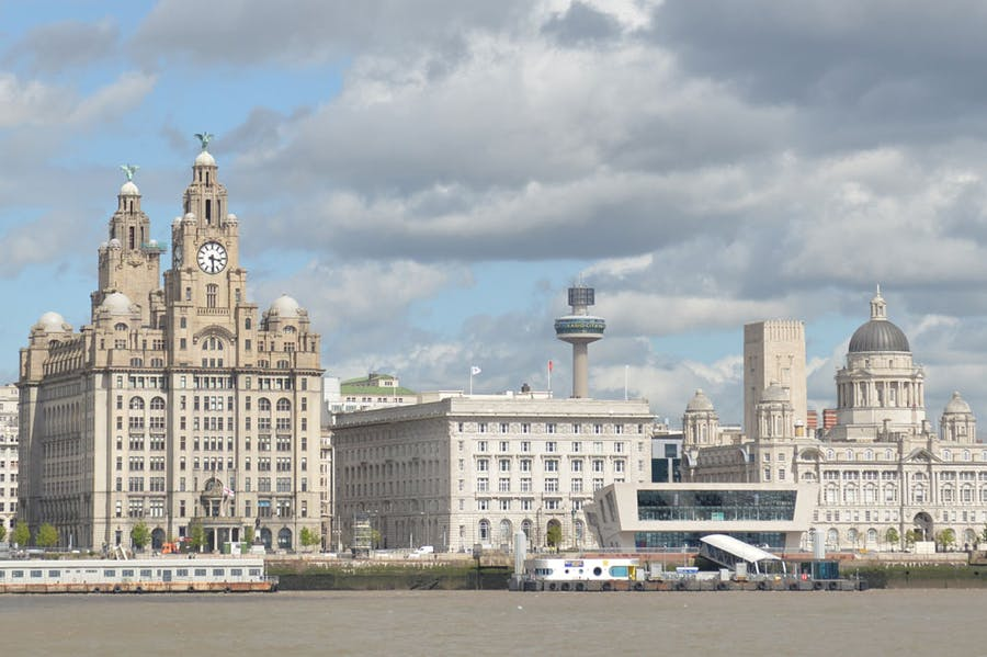 The Royal Liver Building, the Cunard Building and the Port of Liverpool Building (known as The Three Graces), situated on Liverpool's Pier Head.