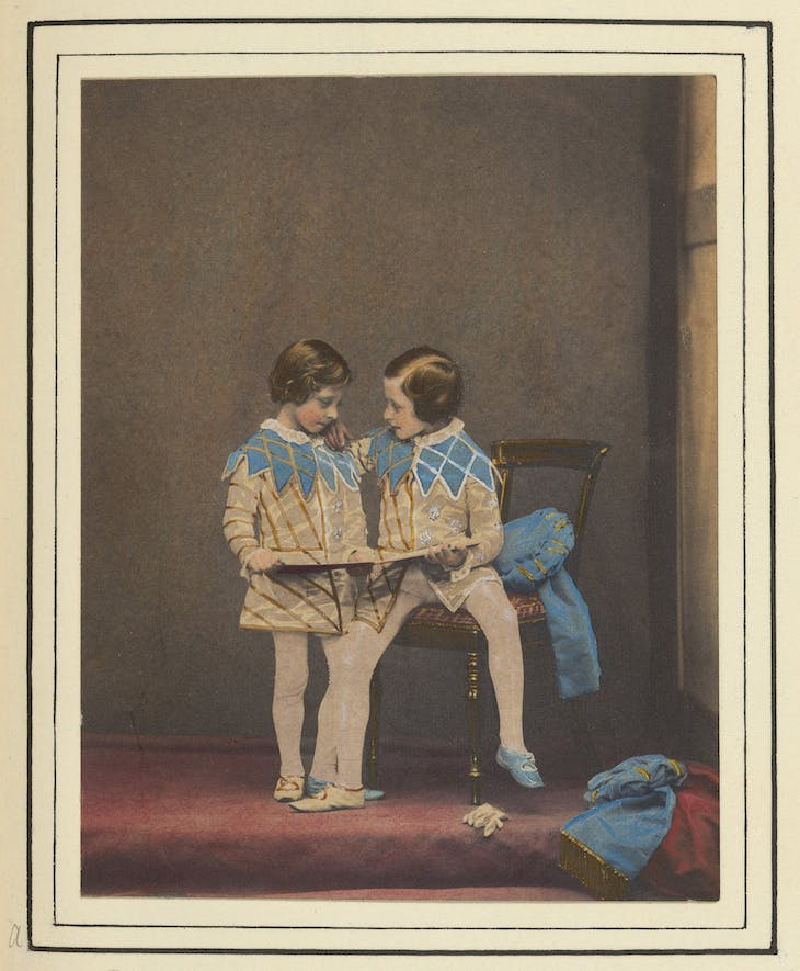Hand-coloured photograph of Prince Arthur and Prince Leopold in the costume of the sons of King Henry IV (1857), commissioned by Queen Victoria and Prince Albert (photo taken by Leonida Caldesi).
