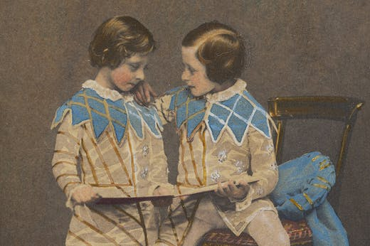 Hand-coloured photograph of Prince Arthur and Prince Leopold in the costume of the sons of King Henry IV (detail; 1857), commissioned by Queen Victoria and Prince Albert (photo taken by Leonida Caldesi).