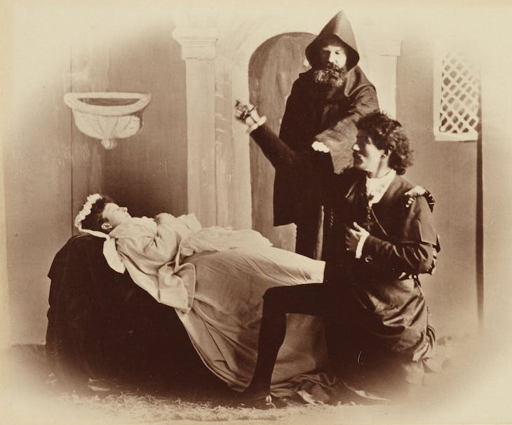 A tableau vivant at Balmoral depicting Romeo and Juliet, Act 5, Scene 3, in 1888. Princess Maud of Wales plays Juliet and Sir Fleetwood Edwards plays Romeo; photograph taken by Charles Albert Wilson.