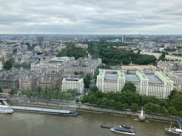 From left to right: Portcullis House, the Norman Shaw buildings, the Ministry of Defence; with the Treasury and Foreign Office behind.