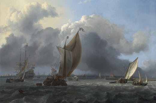 Ships in a Gale on the IJ before the City of Amsterdam (1666), Ludolf Bakhuizen.